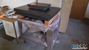 Lot of three assorted Granite surface plates, with one stand. 1 is 3 ft by 2 feet by 5 in, and the