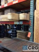 Lot of four assorted sections pallet rack, no contents, plus 3 uprights and seven cross beams,