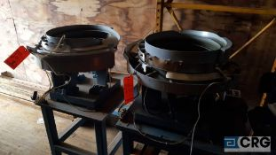 Lot of two assorted Parts Feeder Co, vibratory bowl feeders, model DU-18,115 volt, 6 amp, 1 phase.