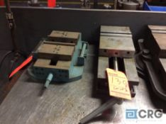 Lot of two assorted 6 inch machinist vises, 1 Kurt, and one make unknown, neither has base.