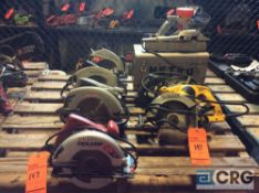 Lot f (6) asst circular saws and (1) planer with case(LOCATED INDUSTRIAL COURT INSIDE)