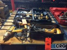 Lot of asst DeWalt electric hand tools including sawzall, impact gun and drill with (2) cordless