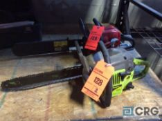 Lot of (2) asst Poulan and Homelite 14 inch chain saws(LOCATED INDUSTRIAL COURT INSIDE)