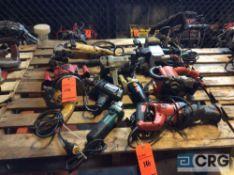 Lot of asst electric hand tools including HD rigt angle grinder, (3) asst belt sanders, router,
