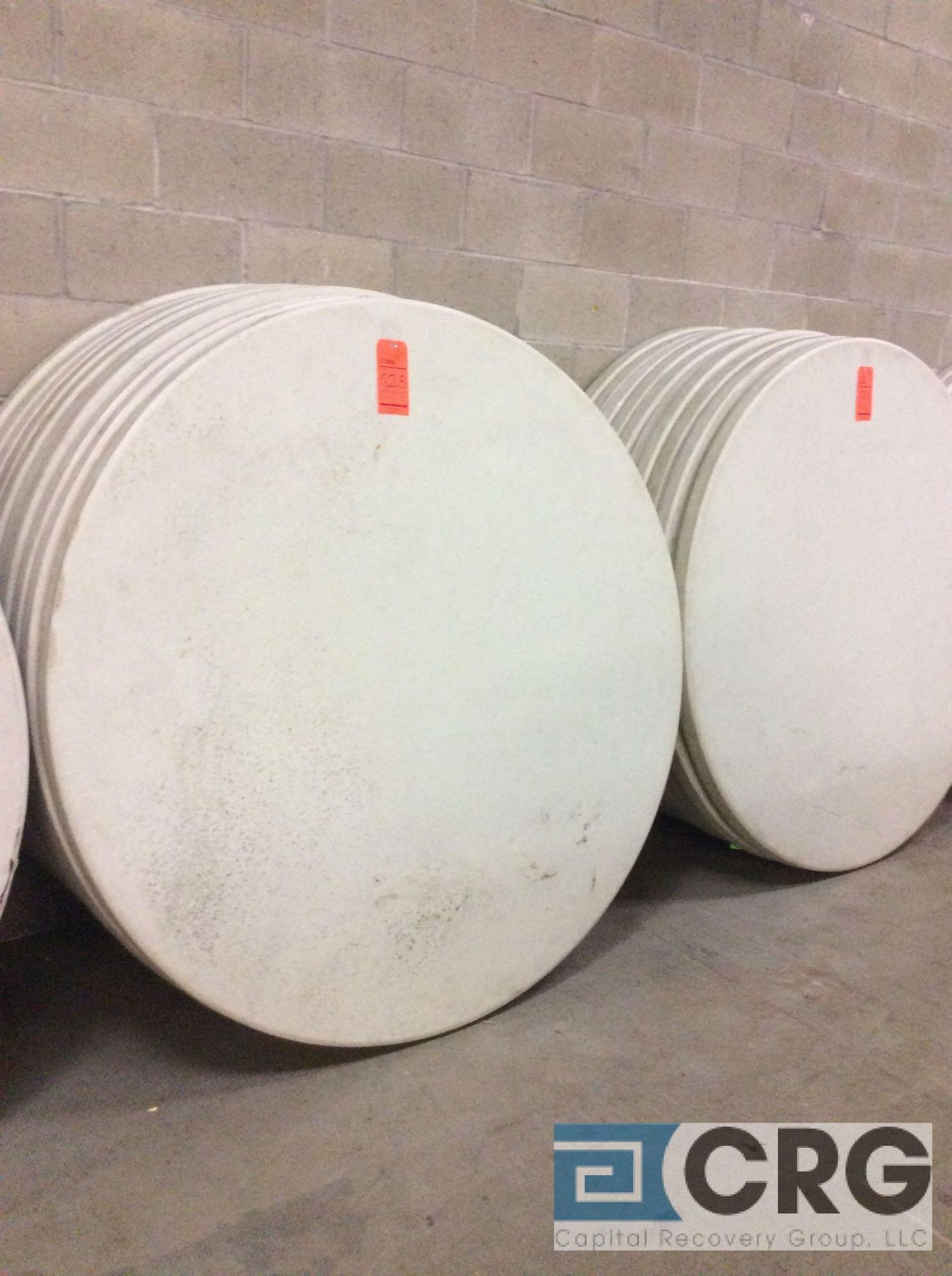 "Lot 128 - Lot of (20) assorted 60"" diameter folding leg resin top tables."