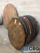 "Lot of (13) assorted folding leg wood banquet tables, (11) 48"" diameter, (1) 45"" diameter, and (3)"