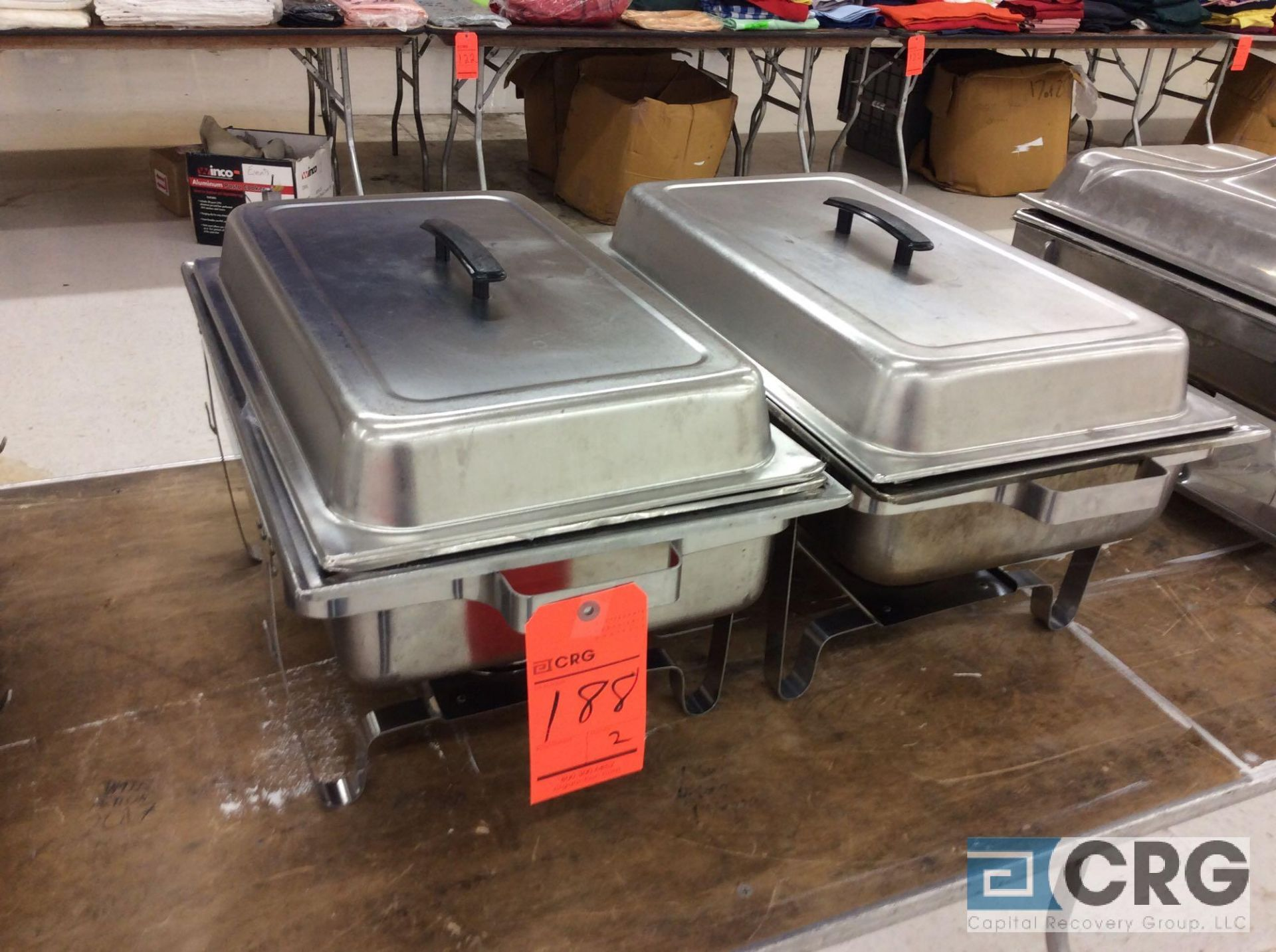 Lot 188 - Lot of (2) assorted SS chafers, each with stand, warming pan, food pan insert, and cover.