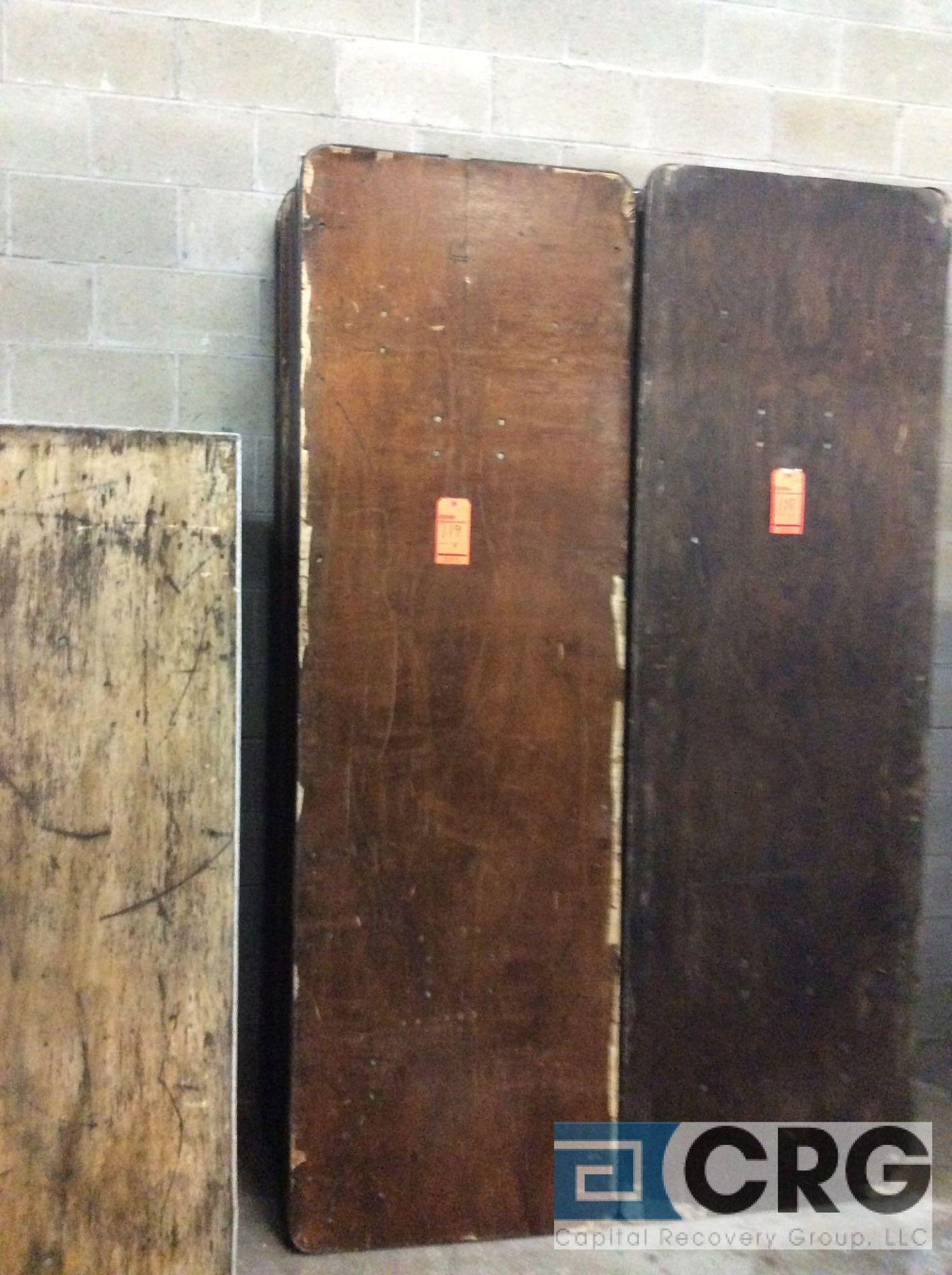 "Lot 119 - Lot of (9) assorted 30"" x 96"" folding leg wood tables."