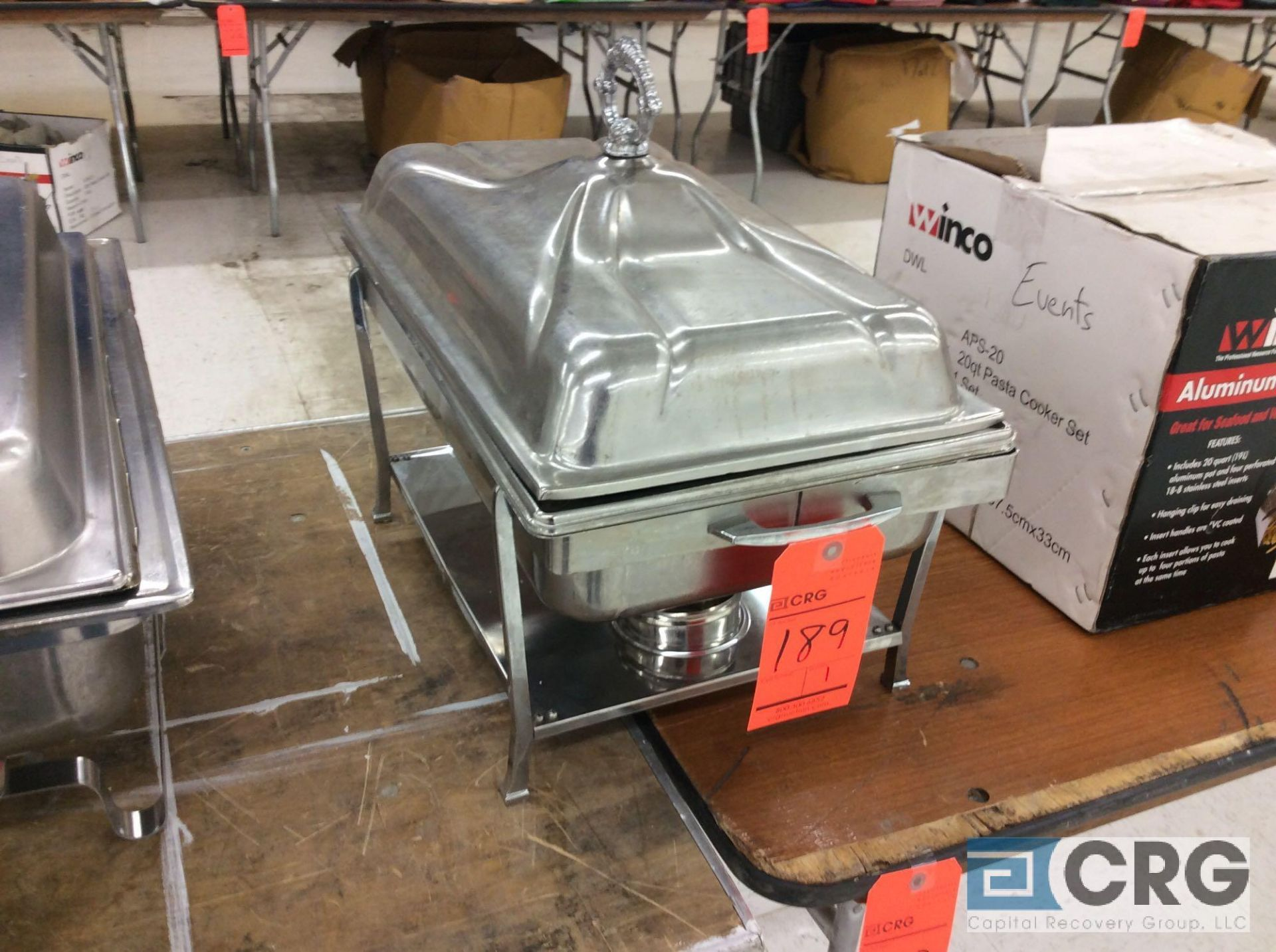 Lot 189 - (1) SS chafer with stands, warming pan, food pan insert, and cover.