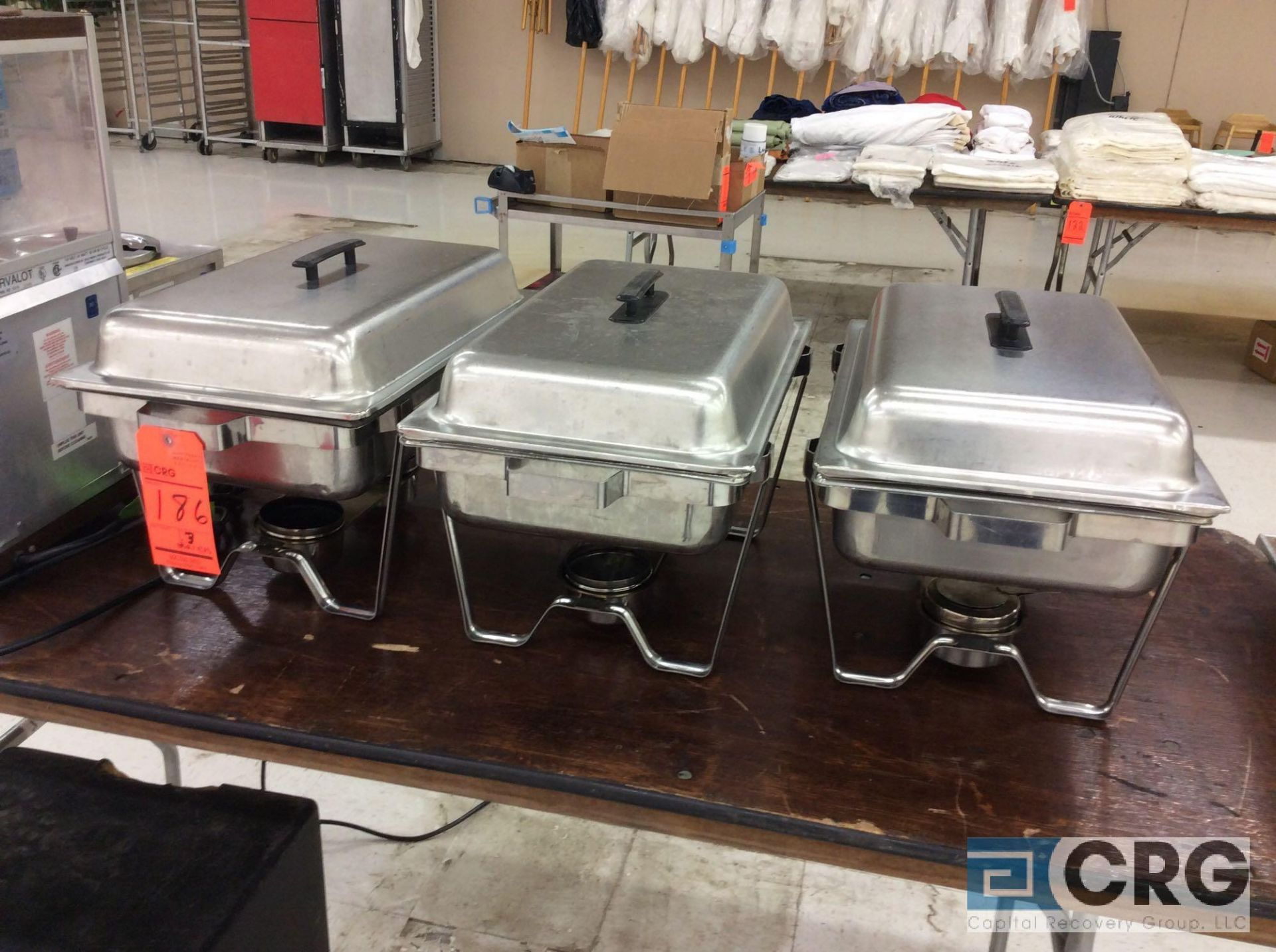 Lot 186 - Lot of (3) SS chafers, each with stand, warming pan, food insert pan, and cover.