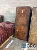 "Lot of (15) assorted 30"" x 72"" folding leg wood tables."