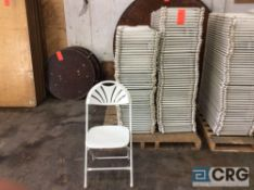 Lot of (93) assorted white fan back, plastic seat with metal frame, folding chairs.