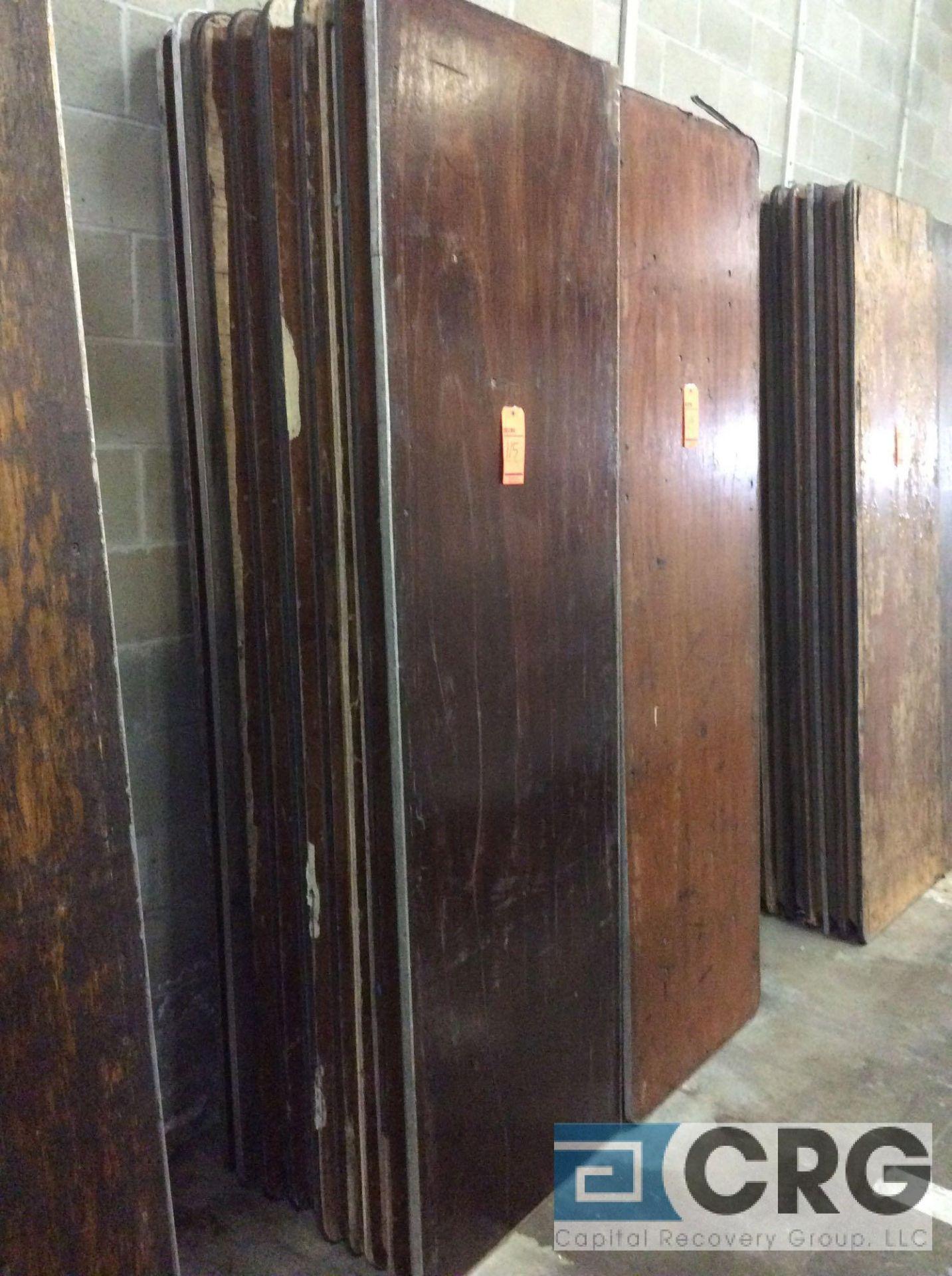 "Lot 115 - Lot of (10) assorted 30"" x 96"" folding leg wood tables."