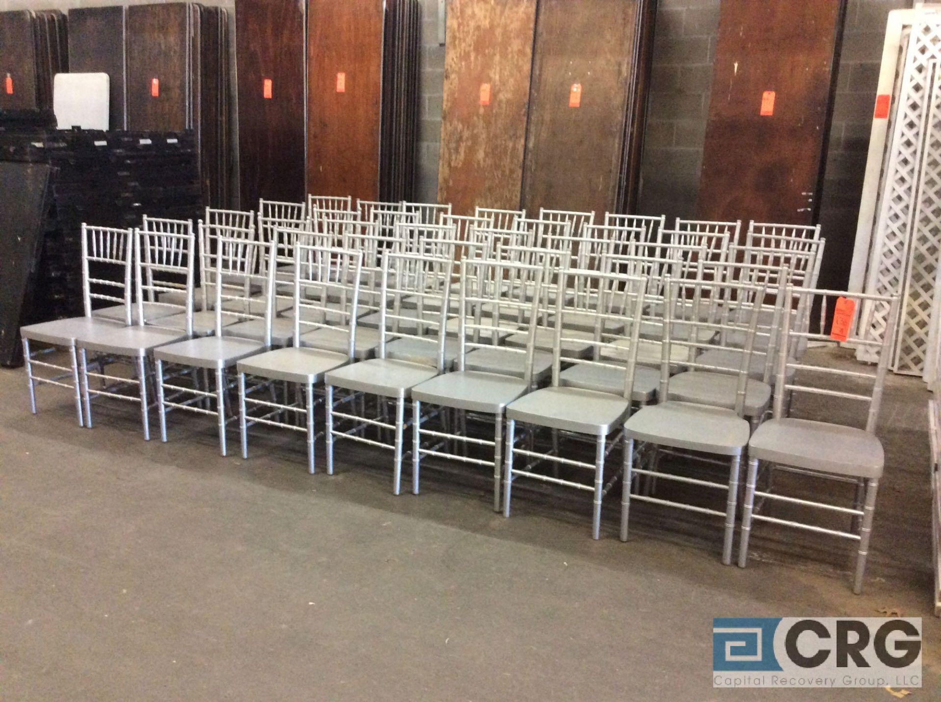 Lot 136 - Lot of (41) silver chivari chairs.