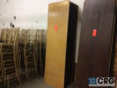 "Lot of (10) assorted 30"" x 96"" folding leg wood banquet tables."