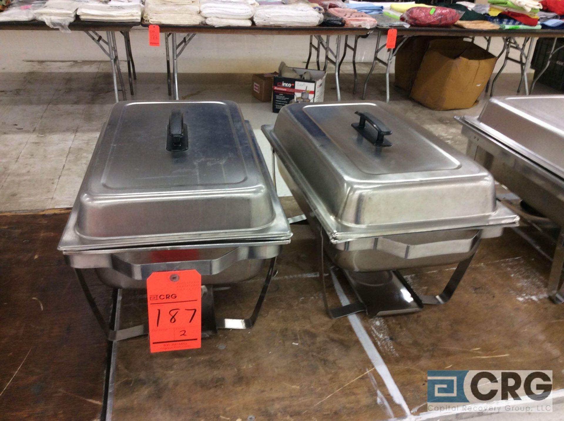 Lot 187 - Lot of (2) assorted SS chafers, each with stand, warming pan, food pan insert, and cover.