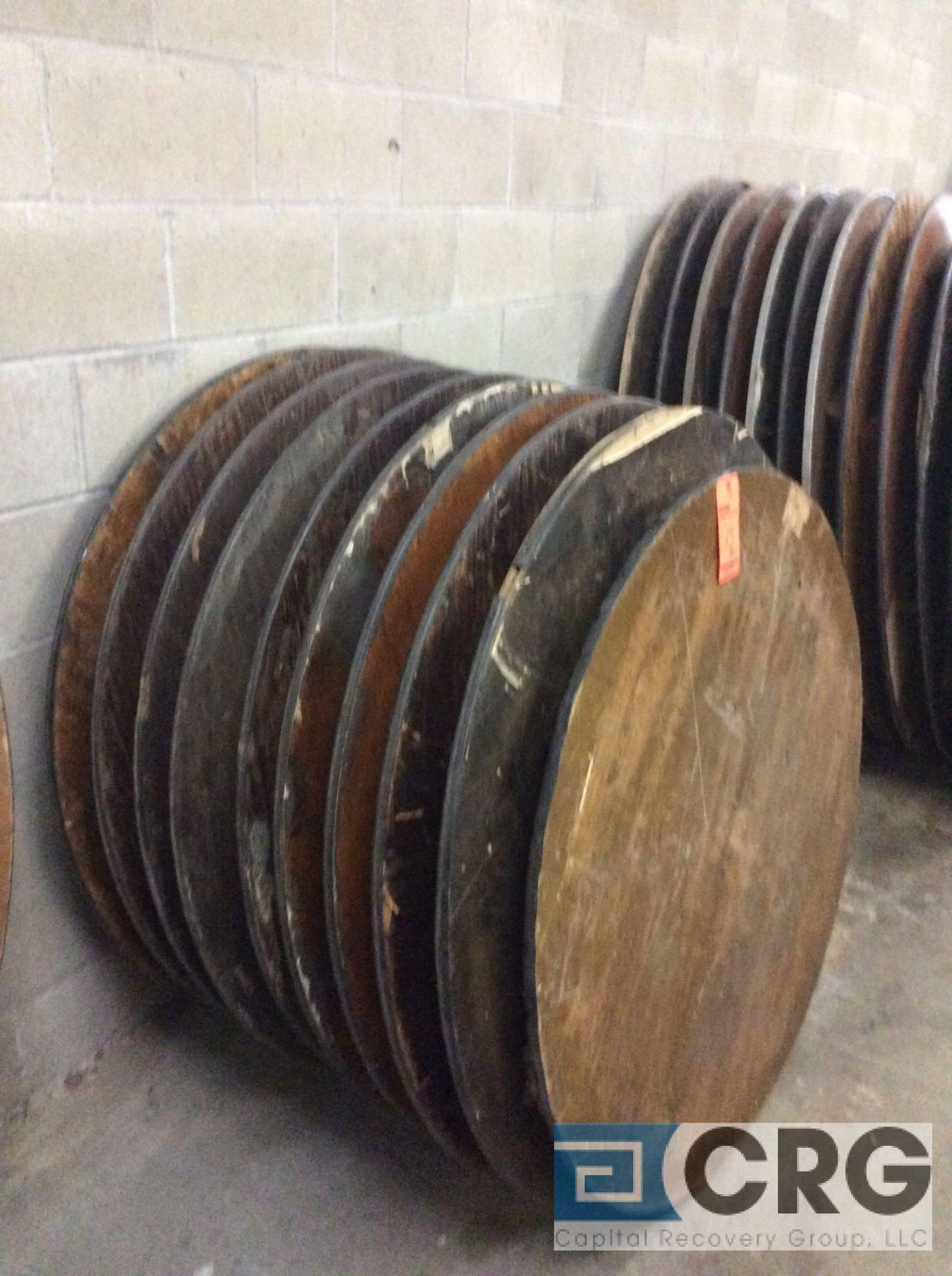 "Lot 124 - Lot of (13) assorted folding leg wood banquet tables, (11) 48"" diameter, (1) 45"" diameter, and (3)"