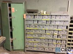 Lot of asst storage racks with plumbing, nuts and bolts contents
