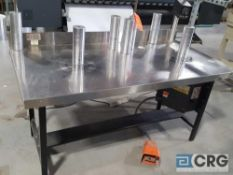 5' stainless steel finishing rewind table with foot pedal control.