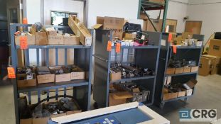 Lot of assorted spare parts and equipment etc, contents of (4) carts, carts excluded.