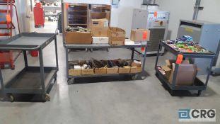 Lot of (4) assorted metal shop carts no contents