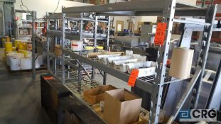 Lot of (7) assorted sections adjustable metal shelving, no contents, cannot be removed until empty.