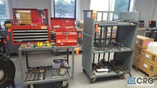 Lot of assorted tools, contents of tool boxes and carts, 3 tier cart is not included.