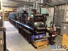 "Webtron 1618, 8 color, 18"" flexography printing press, single turret unwind, (2) UV units, Allen"