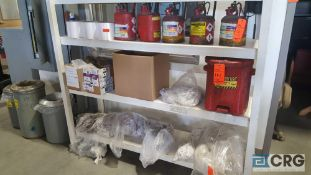 One lot of assorted rags, flammable liquid storage containers, and oily rag container, contents of
