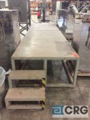 4 foot x 16 foot steel platform with stairs, 2 pc construction and seperate stair case