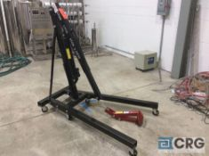 Portable 2 ton shop crane with 8 ton capacity long ram jack, with barrel clamp