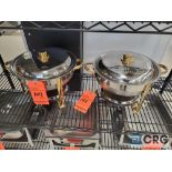 Lot of (2) stainless steel round chafing dishes with brass accents