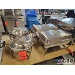Lot of (4) asst stainless steel chafing dishes including (2) standard and (2) round