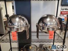 Lot of (3) stainless steel roll top round chafing dishes