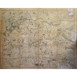 Six G & J Cary folding maps, no 19/21 & 26/28, 1822/23, linen backed, all mounted, each 55.5 x 67 cm