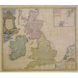 Great Britain and Ireland. A coloured map, A General Map of Great Britain and Ireland with part of
