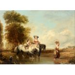 Dutch school, 19th century, figures crossing a river on their way back home from the market, oil