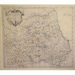 Durham. A Robert Morden map, Episcopaius Dunelmensis Vulgo The Bishoprick of Durham, mounted, 37.5 x