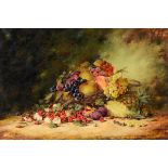 Wilson, a still life of flowers and fruit, oil on canvas, signed, 49.5 x 75 cm See illustration