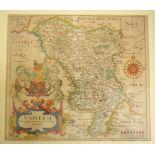 Derbyshire. A Christopher Saxton coloured map, Universi, Derbiensis Comitatus Qui Olim Coritanorum