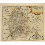 Nottingham. A Christopher Saxton and William Kip tinted map, Notingamiae Comitatus Olim Pars
