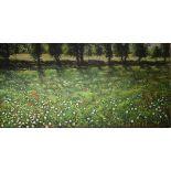 English school, a flower meadow, oil on canvas, 91 x 182.5 cm (unframed)