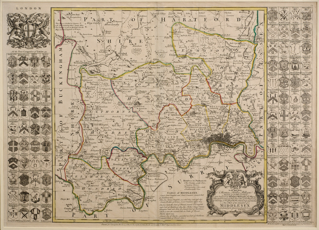 Lot 31 - Middlesex. A Richard Seale tinted map, Map of the County of Middlesex, mounted, 53 x 74.5 cm See