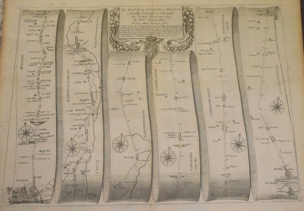 Lot 40 - Road Map. A John Ogilby road map, The Road from London to Barwick, and another, The Road from London
