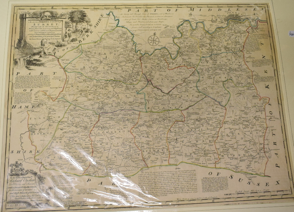 Lot 30 - Surrey. An Emanuel Bowen tinted map, An Accurate Map of the County of Surrey; Divided into its