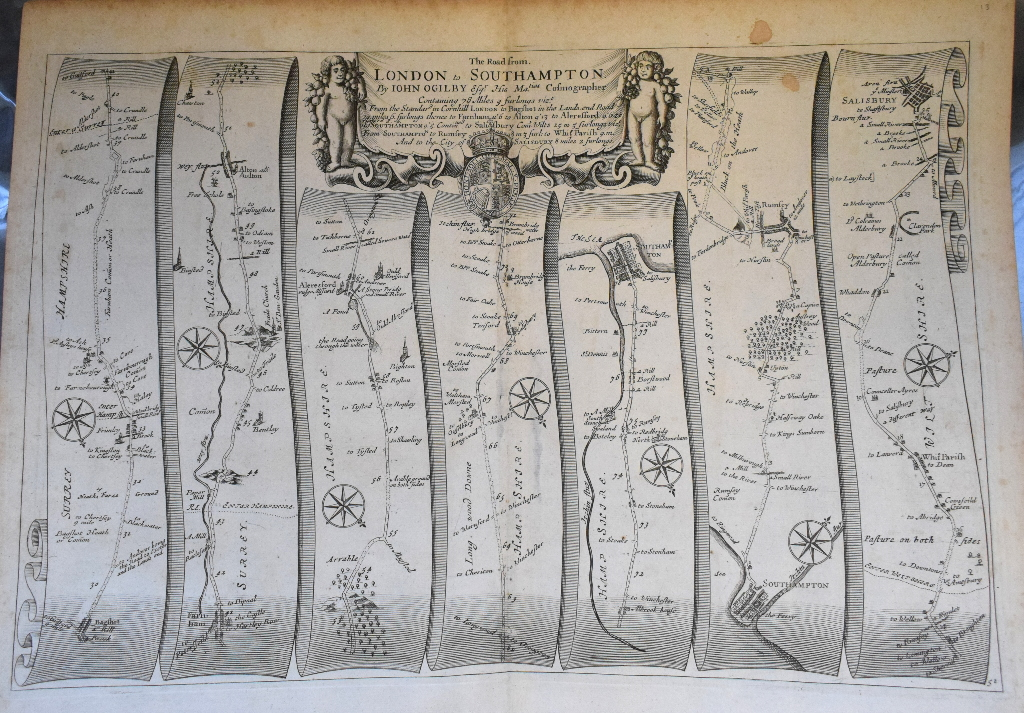 Lot 38 - Road Map. A John Ogilby road map, The Road from London to St. Neotts, and another, The Road from