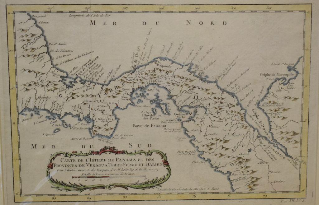 Lot 71 - Jamaica. A Jacques Bellin coloured map, Carte De L'Isle De La Jamaique, mounted, 23 x 34 cm, a