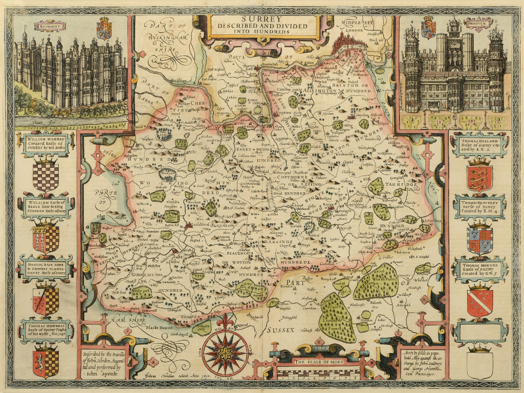 Lot 19 - Surrey. A John Speed coloured map, Surrey Described And Divided Into Hundreds, with vignettes of