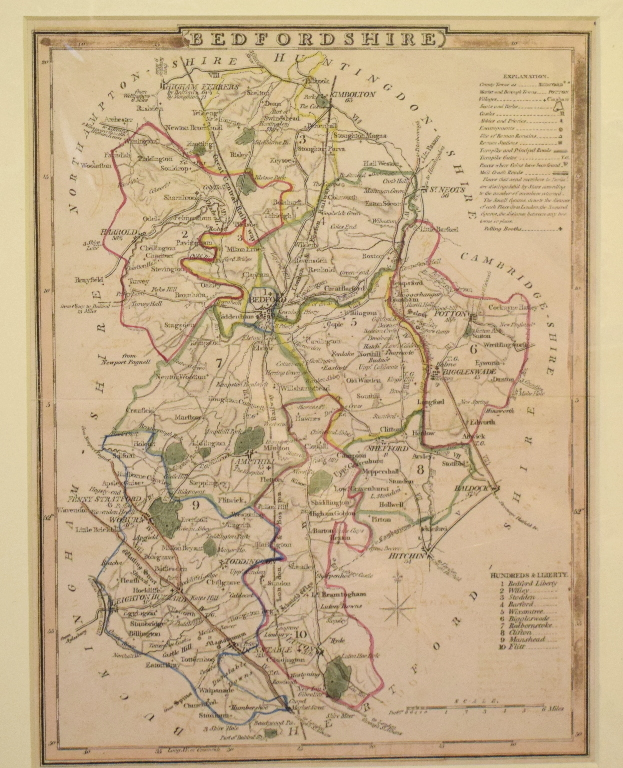 Lot 97 - Assorted county and other maps, including Bedfordshire, Oxfordshire, Huntingdonshire, Middlesex,