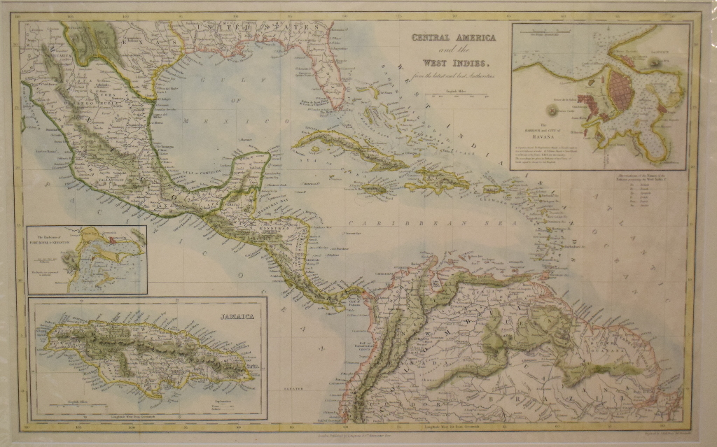 Lot 79 - South America. A coloured map, mounted, 38 x 32.5 cm, a coloured map, Central America and the West
